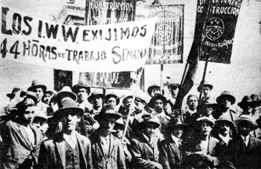 Manifestación de afiliados a la sección chilena de la IWW